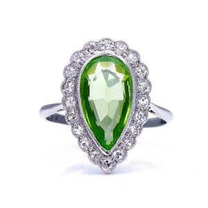Antique Edwardian 2.33ct Pear Shaped Peridot and Diamond Cluster Ring