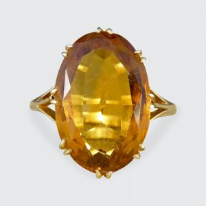 Antique Edwardian Citrine 18ct Gold Ring