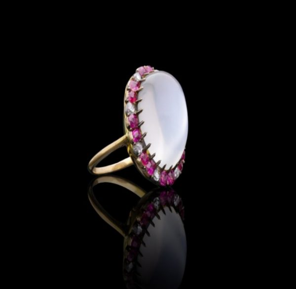 Antique Edwardian Moonstone Ruby and Diamond Ring