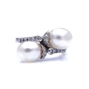 Antique Edwardian Natural Pearl and Diamond Crossover Ring
