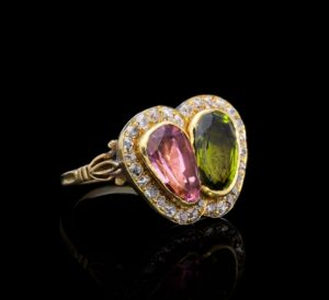 Antique Edwardian Sweetheart Pink and Green Tourmaline Ring