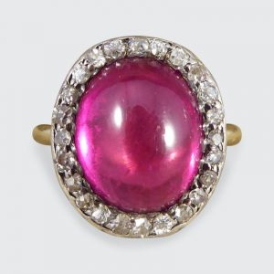 Antique Edwardian Synthetic Ruby and Diamond Cluster Ring