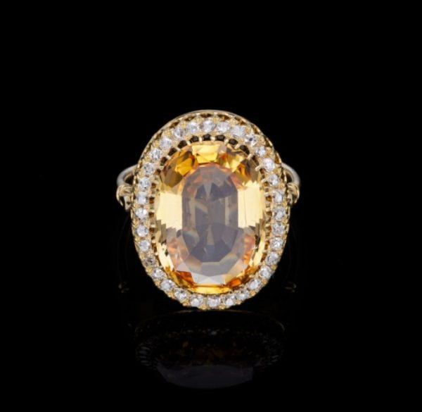 Antique Edwardian Yellow Topaz and Diamond Ring