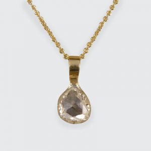 Antique Late Georgian Rose Cut Diamond Pendant on 18ct Gold Chain