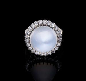 Antique Victorian Moonstone Diamond Cluster Ring