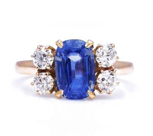 Antique Victorian Natural Burmese Sapphire and Diamond Ring