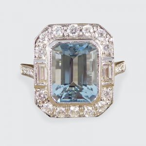 Art Deco Style Aquamarine Diamond Cluster Ring