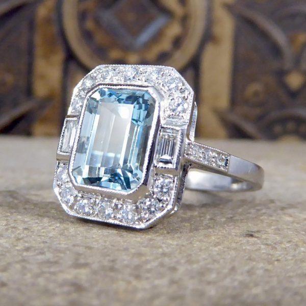 Art Deco Style Aquamarine Diamond Cluster Ring