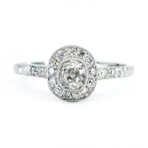 Art Deco Style Old Mine Cut Diamond Target Cluster Ring