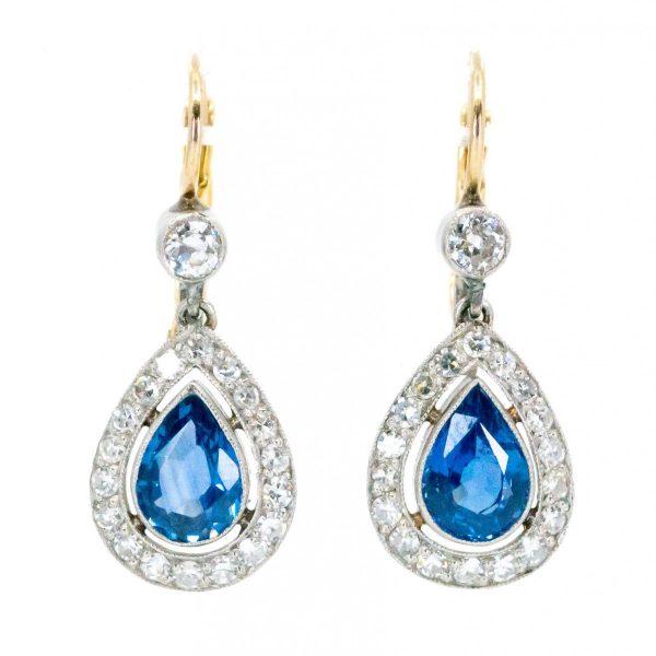 Art Deco Style Sapphire Diamond Drop Earrings
