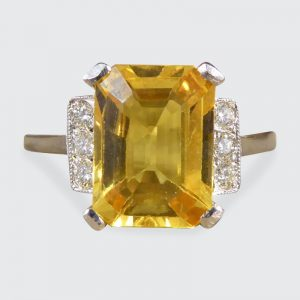 Art Deco Style Yellow Sapphire 3.70cts and Diamond Platinum Ring
