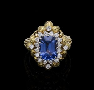Colour Change Sapphire 4.70ct and Diamond Ring