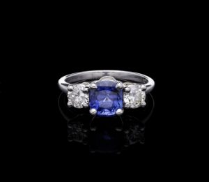 Colour Change Sapphire Diamond Three Stone Ring