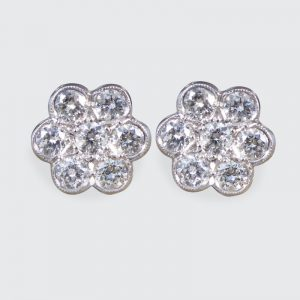 Diamond 1.10ct Daisy Cluster Stud Earrings