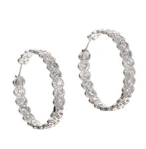 Diamond Hoop Earrings with Rose and Round Cut Diamonds , 5.20 carats