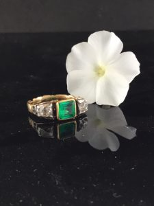 Antique Georgian Colombian Emerald and Diamond Engagement Ring