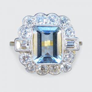 Edwardian Style Aquamarine 1.50ct and Diamond Cluster Ring
