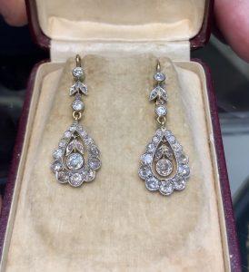 Antique diamond drop earrings, Circa 1910