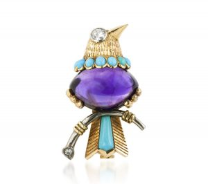 Vintage Cartier Bird of Paradise 7 Carat Amethyst, Turquoise and Diamond Brooch, 18ct Yellow Gold