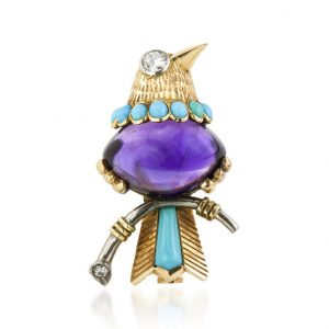 Vintage Cartier Bird of Paradise 7 Carat Amethyst Turquoise and Diamond Brooch, 18ct Yellow Gold