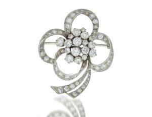 Vintage 1950s Floral Diamond Platinum Brooch, 6.00ct Total