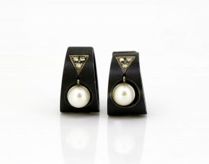 Vintage Marsh & Co. Steel, Diamond, Cultured Pearl and White Gold Earrings circa 1930's