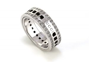 Gucci 18ct White Gold Spinning Ring with Diamonds