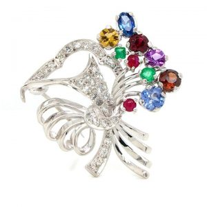 Vintage 'Giardenetto' Diamond and Multi Gem Stone Brooch
