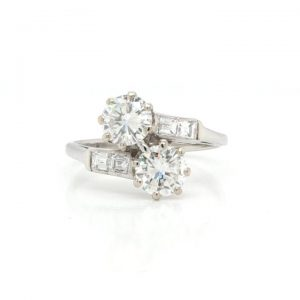 Vintage 1.20ct Diamond and Platinum Two Stone Crossover Ring
