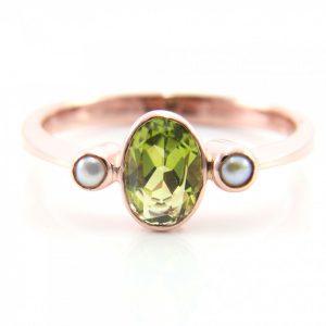 Peridot and Pearl Three Stone Ring