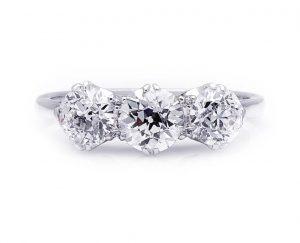 Vintage 1.73ct Diamond and 18ct White Gold Three Stone Ring