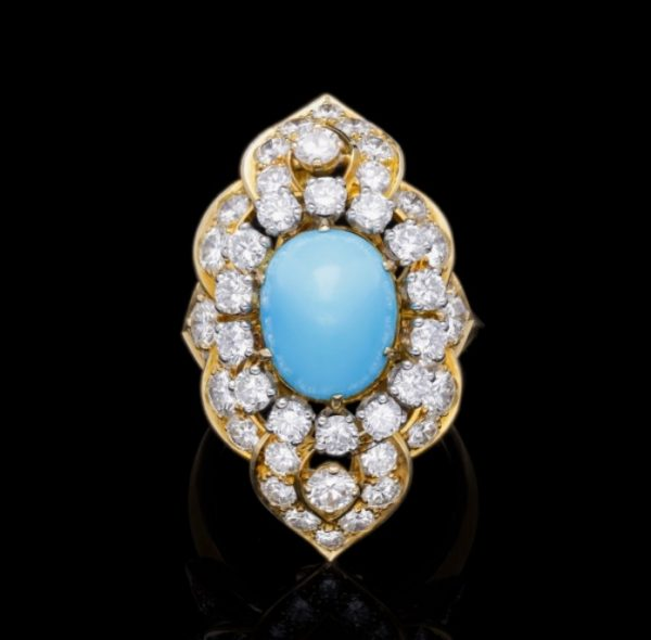 Vintage 1960s Turquoise and Diamond Ring