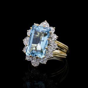 Vintage Cartier Aquamarine Diamond Cluster Ring