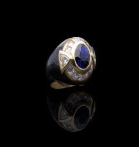 Vintage Faraone Sapphire Diamond and Black Enamel Ring