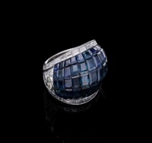 Vintage Pavé Set Sapphire Diamond Ring