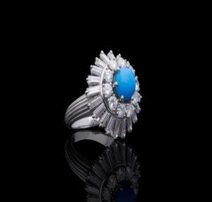 Vintage Turquoise and Diamond Platinum Ring