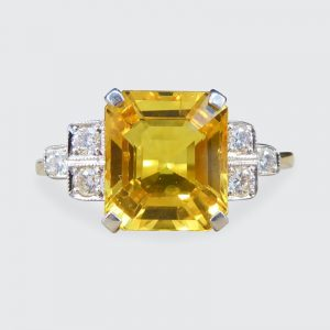 Yellow Sapphire 2.60cts and Diamond Ring