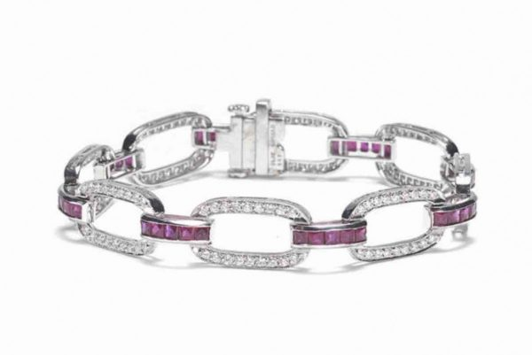 ruby diamond bracelet platinum open links calibre cut