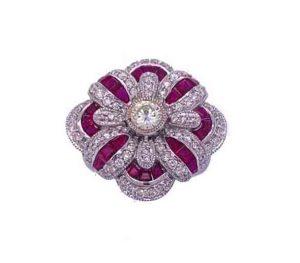 Ruby and Diamond Dress Ring, Calibre Cut Rubies, 18ct gold
