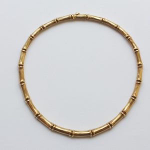 Cartier 18ct Yellow Gold Bamboo Necklace; contemporary 18ct yellow necklace comprising of bamboo links. Signed and numbered: Cartier, 847558.