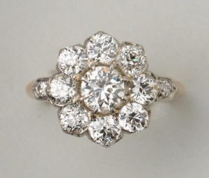 Antique Edwardian 2.75ct Old Cut Diamond Floral Cluster Ring