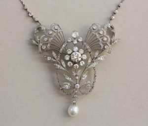 Antique Edwardian 3.7ct Old Cut Diamond and Pearl Necklace/Brooch