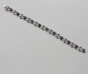 Vintage 15ct Sapphire and Diamond Bracelet in White Gold, c.1950
