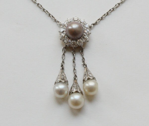 Antique Tiffany and Co Diamond, Pearl and Platinum Necklace; natural grey pearl and old-cut diamond cluster, with three natural white pearl drops, Signed