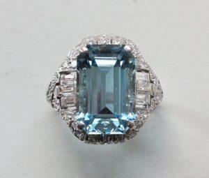 Art Deco 8.5ct Emerald Cut Aquamarine, Diamond and Platinum Ring