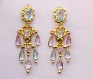 Antique Georgian Aquamarine, Pink Topaz and Gold Chandelier Earrings