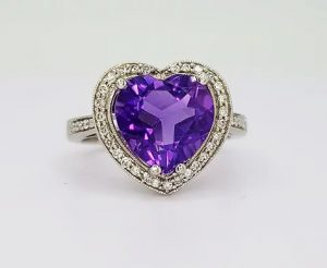 Amethyst and Diamond Heart Shaped Cluster Ring