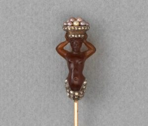 Antique Victorian Agate Mermaid Stickpin, with Pearls and Diamonds