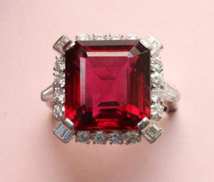 Bailey Banks and Biddle Vintage 12ct Rubelite and Diamond Square Ring