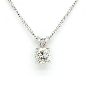 0.75ct Diamond Single Stone Solitaire Pendant in 18ct White Gold